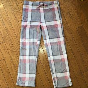 Ultra Soft Plush Pajama Pants Pink & Gray